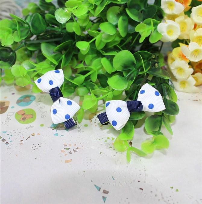 small blue children kids baby girls hair accessories clip hairpins barrettes headwear flower bow Retail Boutique wholesale JX-46(China (Mainland))
