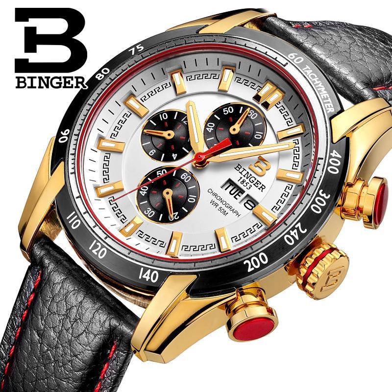Switzerland watches men luxury brand Wristwatches BINGER Quartz watch Chronograph Diver glowwatch B1163-4<br>