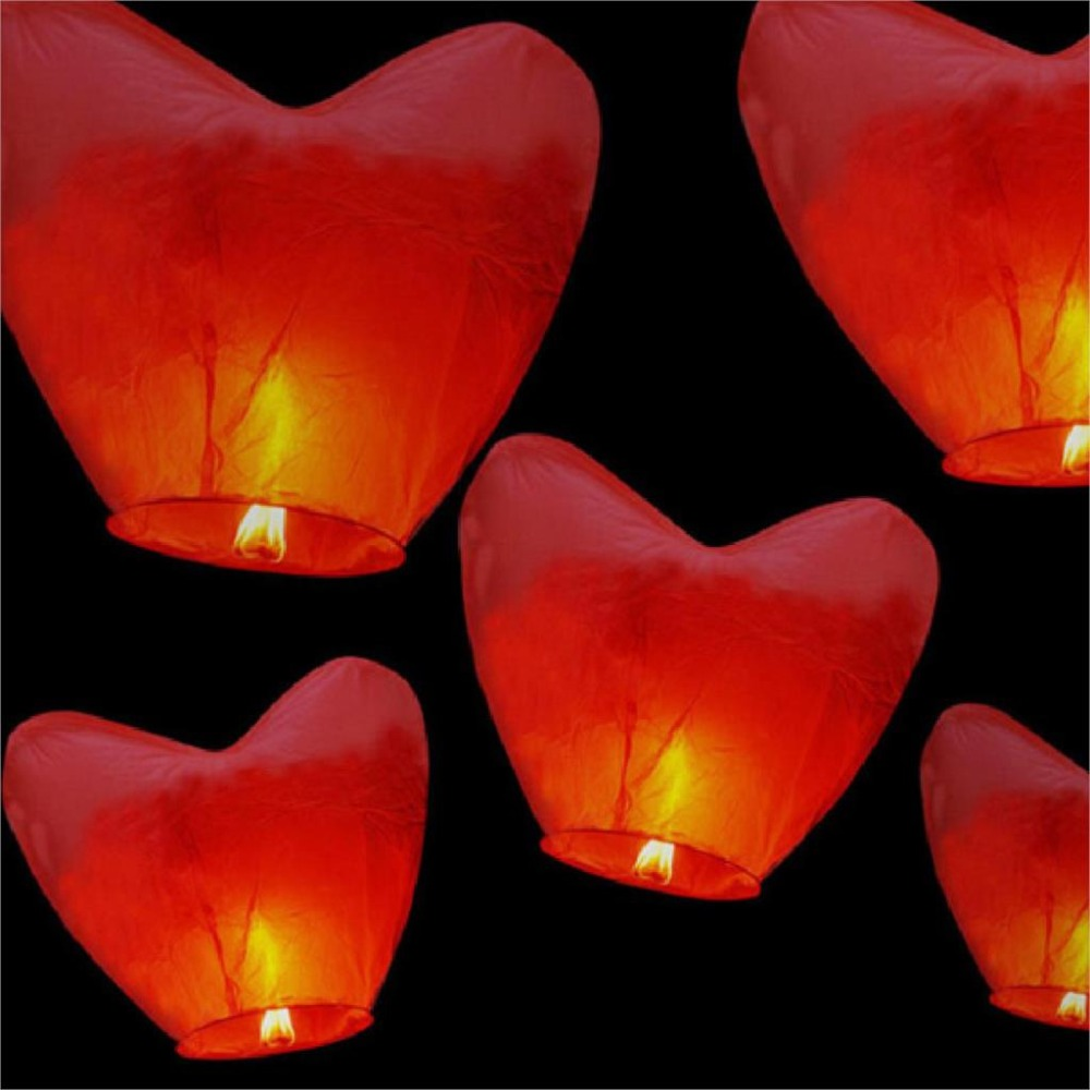 10pcs Red Love Heart Hot Air Balloon Chinese Sky Lantern Wish Balloons Party Favors(China (Mainland))