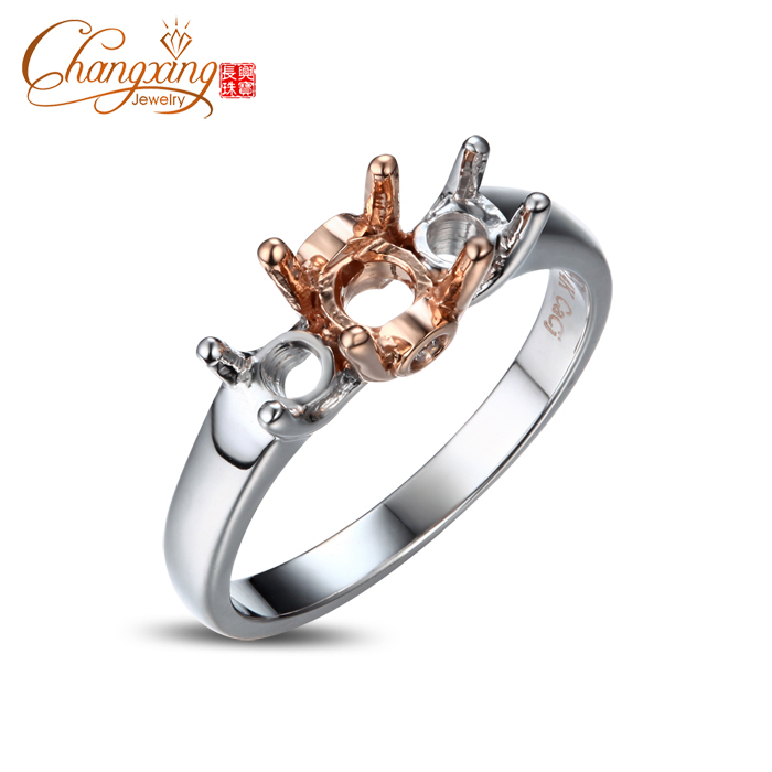 5.5mm and 4.0mm Round Three Stones Solitaire Engagement 14k Gold Semi Mount Ring<br><br>Aliexpress