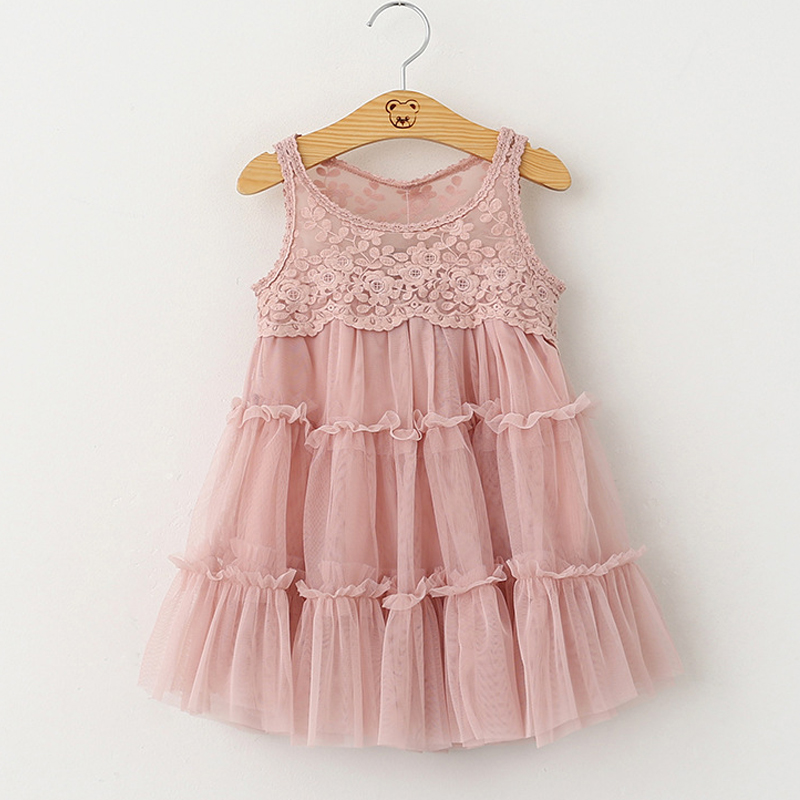 High Quality Fashion Style 2016 New Summer Lovely Baby Girl Lace dress Children Sleeveless Princess Dresses(China (Mainland))