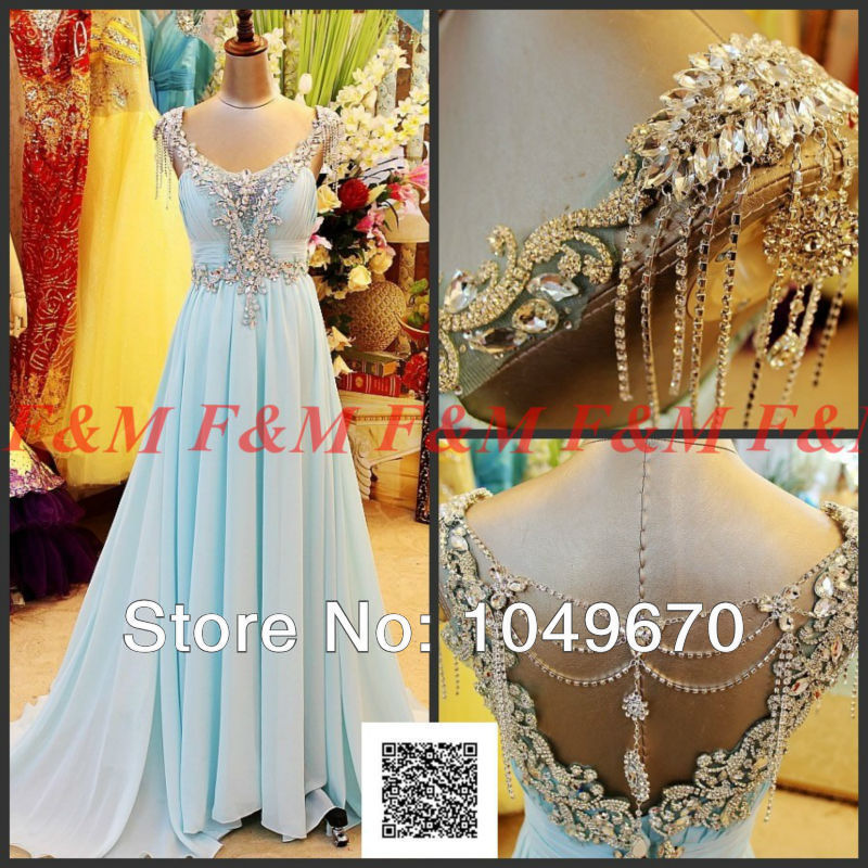 2014 Actual Pictures Sweetheart A-Line Crystal Beaded High Shinny Blue Evening Party Gown Prom Dresses Court Train F&M695(China (Mainland))