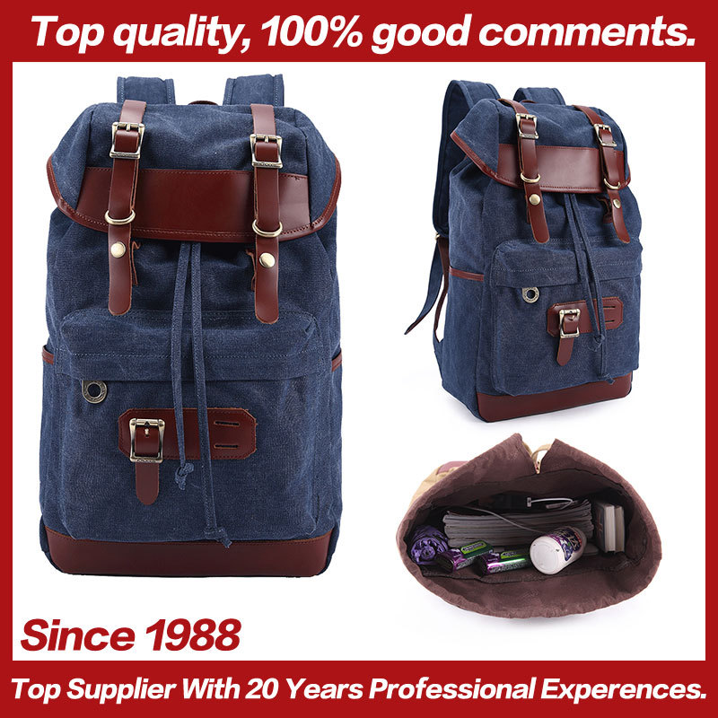 2015 Super Fashion Adult's Hot-Selling Large Canvas Travle Bags Leather Backpack 4 Colors 27.5 * 13 * 43 Wholesale Backpack(China (Mainland))