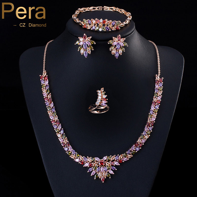 18k Yellow Gold Filled Colorful Cubic Zirconia Diamond Paved Big Statement 4 Piece Women Jewelry Sets For Evening Party J094(China (Mainland))