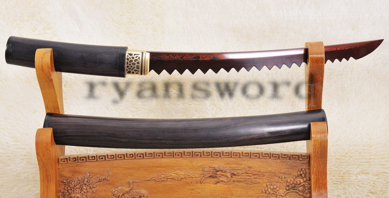 HANDMADE RED FOLDED STEEL SHIRASAYA TANTO WITH SAW STYLE BLADE- RYAN1002(China (Mainland))