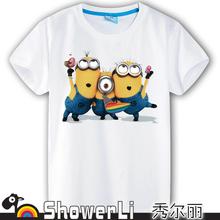 Cotton short sleeve children t shirts cute cartoon t shirt Despicable me game boys girls t
