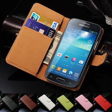 Genuine Leather Case For Samsung Galaxy S4 Mini i9190 Phone Bag with Card Holder Flip Cover For Samsung Galaxy S4 Mini Cases(China (Mainland))