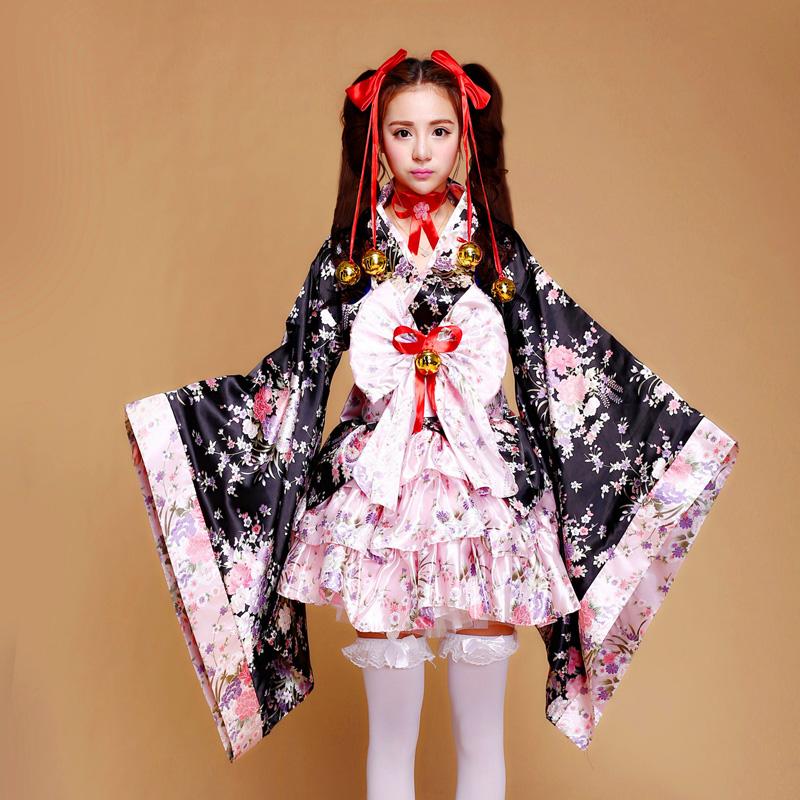 Free shipping Japanese Kimono Heavy Sakura Cosplay Anime Outfit Maid Costume Dress Kimono Vestidos 7 pieces set Size S---XL(China (Mainland))