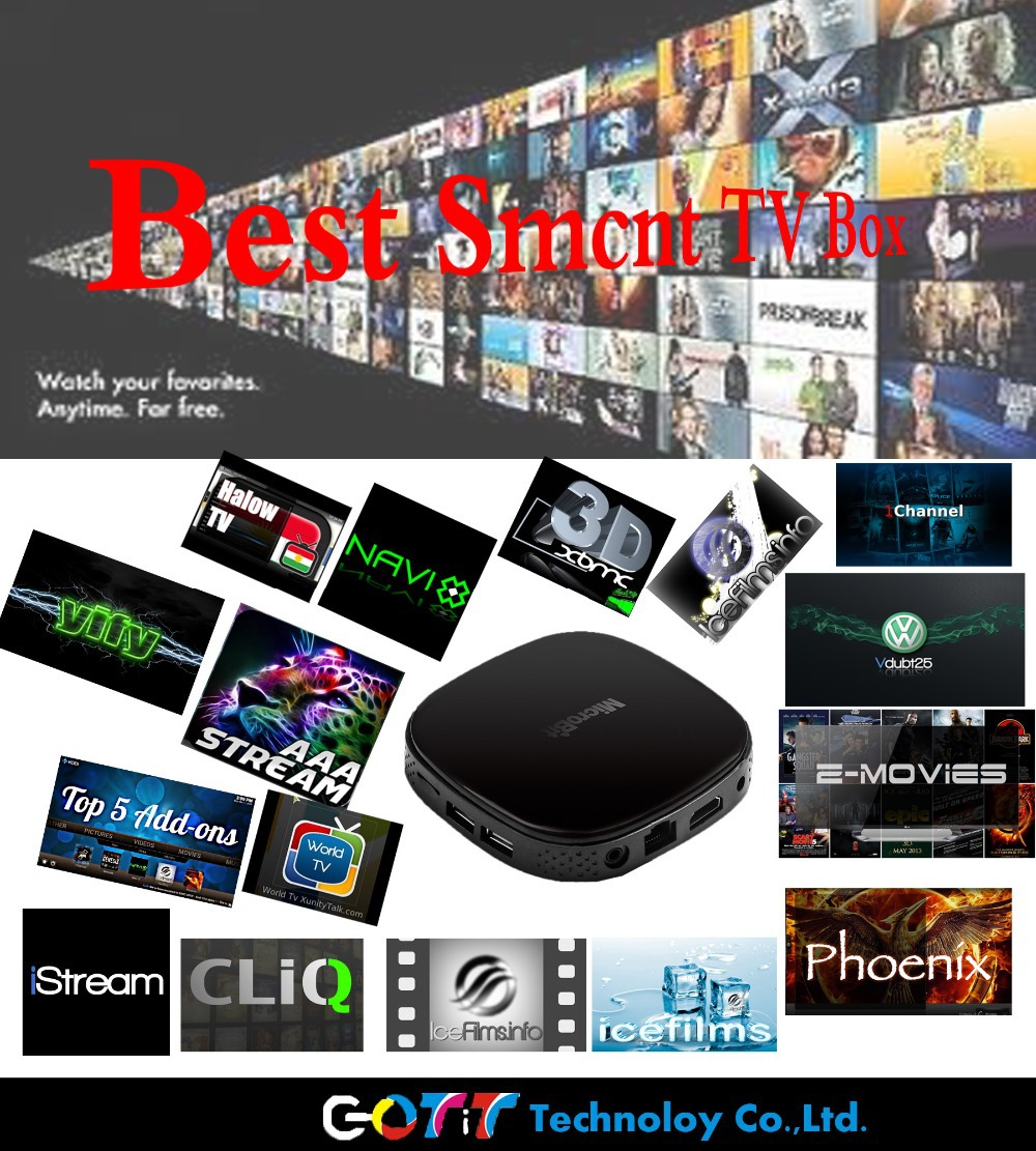 GOTiT GT-MS Android TV Box 4.4 XBMC KODI Preinstalled Quad Core Amlogics805 wifi Over 1000000 Free Movies Best Smart TV Box(China (Mainland))