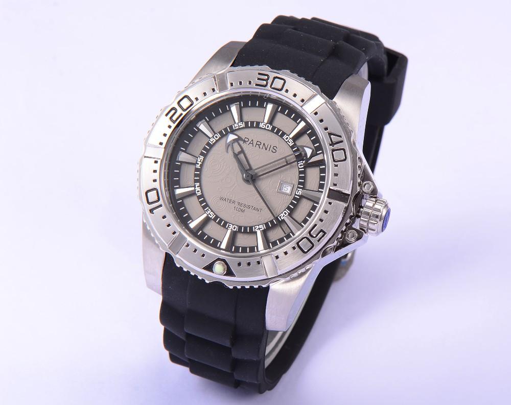 Мода 45 мм Парнис Корпус Из Нержавеющей Стали Водонепроницаемость 100 М мужская Кварцевые Часы Серый Циферблат Хорошее качество