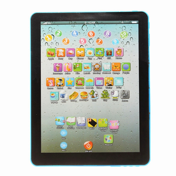 New Blue Learning Machine Education Toys Intelligent Kids Pad Laptop For Children Childrens Computer Kids Mini Tablet Teach Toy(China (Mainland))