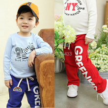 DropShippingChild Baby Boys Long Pants Trousers Casual Rainbow Pattern Cotton Bottoms 2-6Y(China (Mainland))