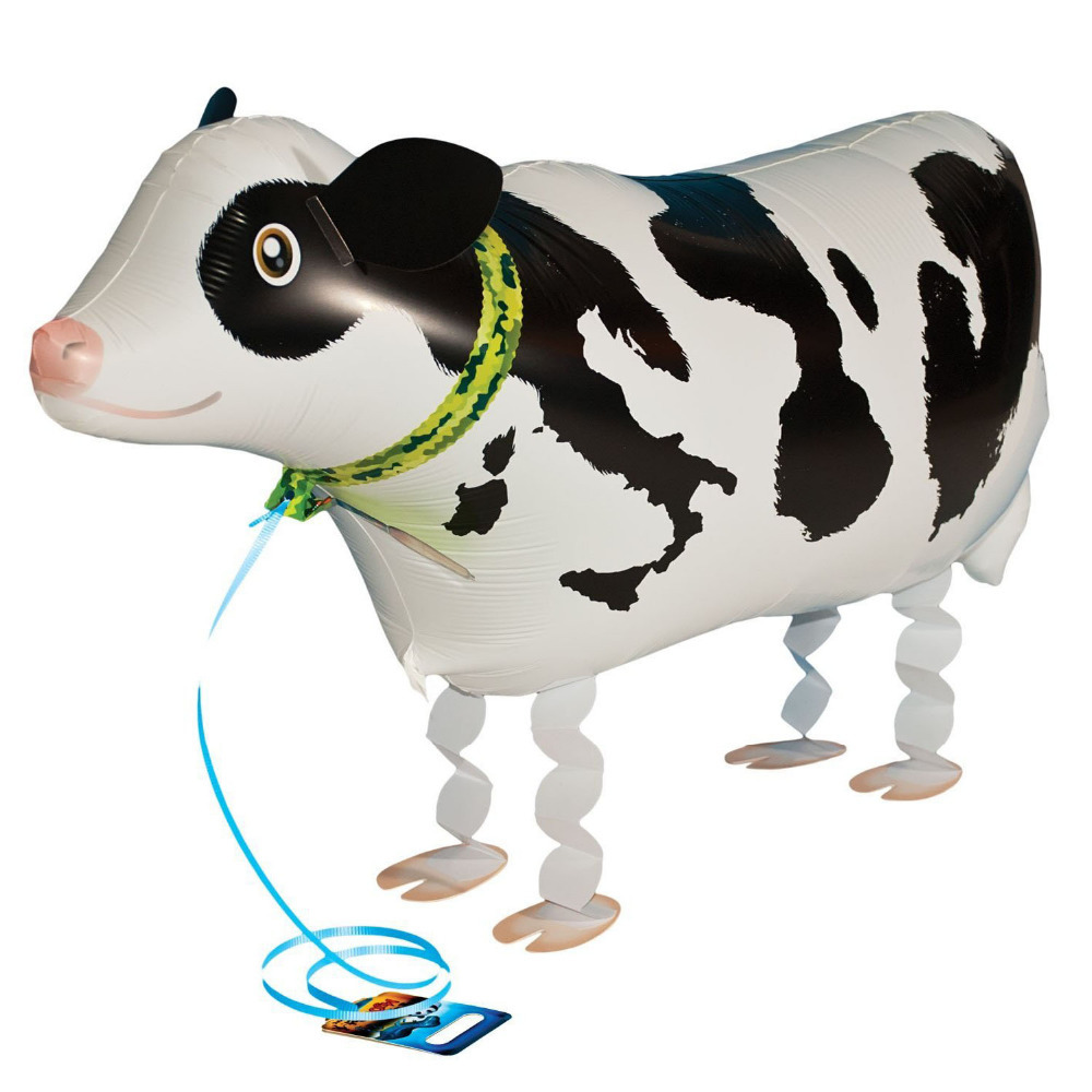 63x48CM cartoon decoration helium foil party walking pet cow balloons toys globos ballons(China (Mainland))