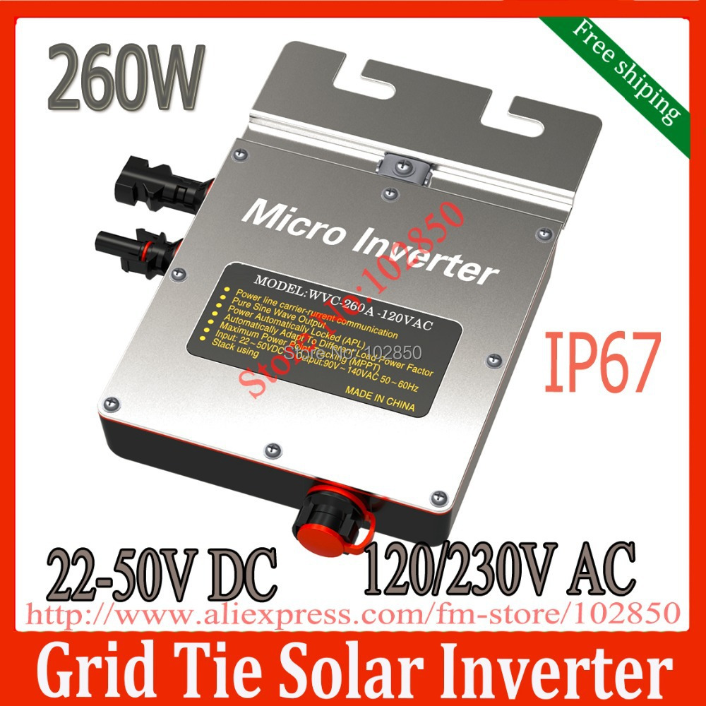 Free shipping 260W solar micro inverter IP67 DC22V~50V Grid Tie Solar Inverter with Power Line Carrier-current Communication(China (Mainland))