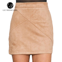 Buy 2016 Autumn Style Casual Mini Skirt Suede Leather High Waist Sexy Pencil Office Work Zipper Split Short Bodycon Women Skirts for $12.99 in AliExpress store
