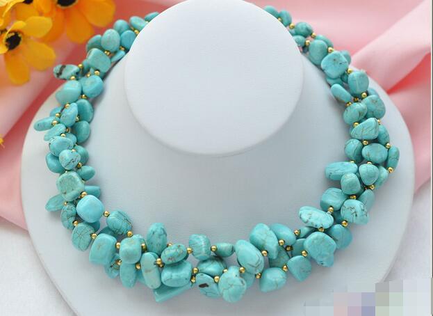 song voge gem nanJ0773 3row blue massive turquoise NECKLACE(China (Mainland))