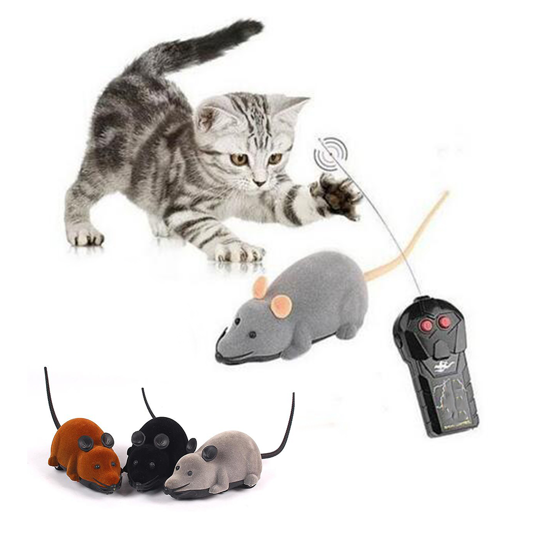 Fashion Funny Cat Dog Toys Remote Control Simulation Mouse Kids Toys Ears Random Color(China (Mainland))
