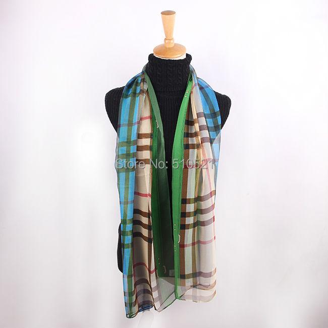 2014 new arrival desinger brand scarf 160 * 50 fashion blue plaid women scarfs / polyester chiffon shawls 10pcs wholesale(China (Mainland))