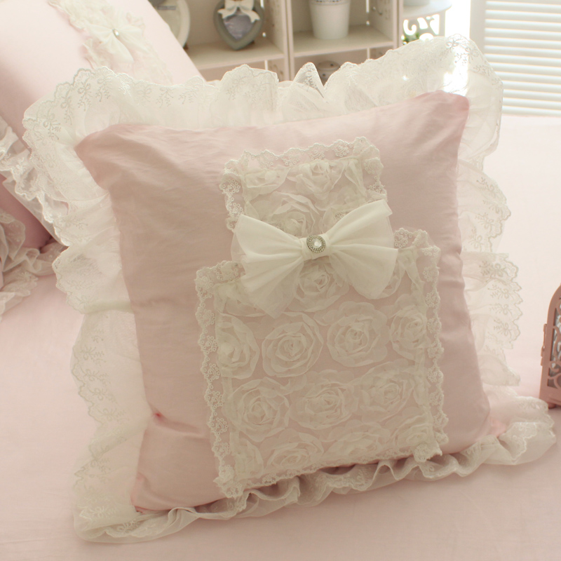 Pink lace princess lovely perfume & lace style cushion Cushion cover sofa bed room Dec square cotton wholesale FG173(China (Mainland))