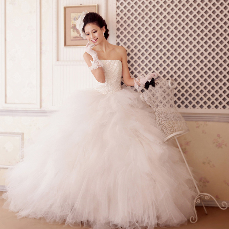 Free Shipping Robe De Mariee Princess Wedding Dress Bandage Slim Dimensional Tutu Wedding Dresses Vestido Novia Hs34(China (Mainland))