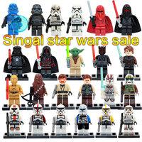 Singola vendita di star wars yoda stormtrooper darth vader C3P0 chewbacca building blocks mattoni modello giocattoli