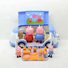 FREE SHIPING Peppa Pig Figure Toys Peppa Family Picnic Camping Car Pig Toys Baby Kids Classic Play House Gift with Retail Box(China (Mainland))