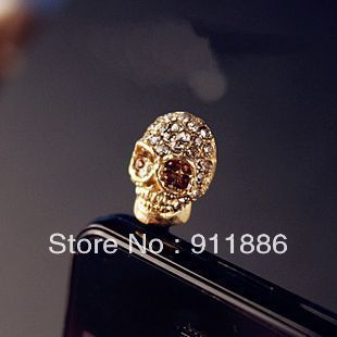 Free Shipping New Charm Jack Headphone Gold Skull Style Crystal Anti Dust Plugs For Iphone SAMSUNG Cell Phone Dust Cover(China (Mainland))