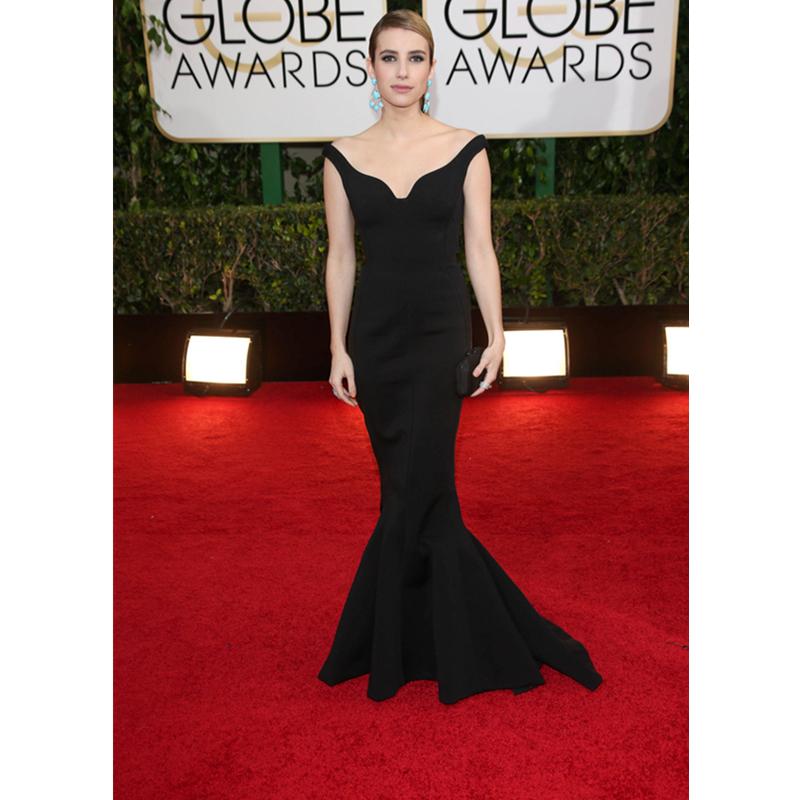 Long Black Elegant Emma Roberts Mermaid Celebrity Vestidos Floor Length Golden Globe Awards Celebrity Dresses Robe De Soriee(China (Mainland))