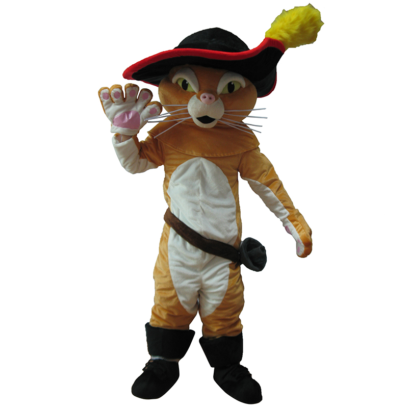 Puss In Boots Mascot Costume Pussy Cat Mascot Costume Free Shipping(China (Mainland))