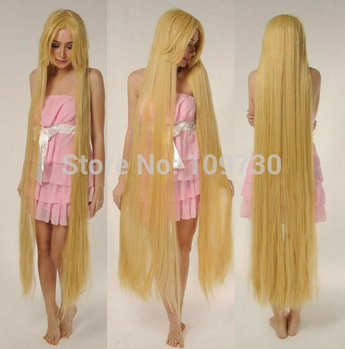 jj 001247 Tangled Rapunze Super 150CM Long Wig Straight Blonde Cosplay Wig Full Hair Wig