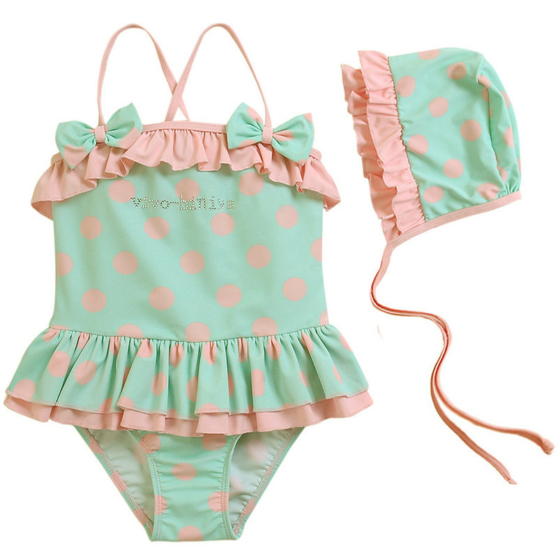 d85de64b7a New Arrival 2016 Hot Sale Infant Bathing Suits Cute Pink Polka Dot Swim  Wear Summer Style Baby Girls Swimming Suit with Hat