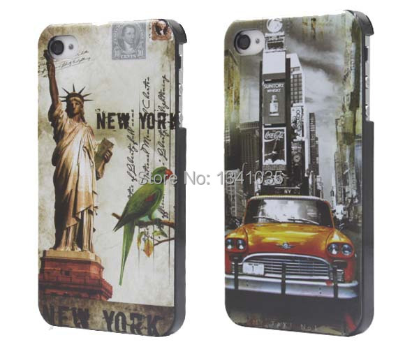 For iPhone 4S case Classic Car Newyork Pattern style PC material hard Back Case Cover For iphone4 4g Mobile Phone case SJK0337(China (Mainland))