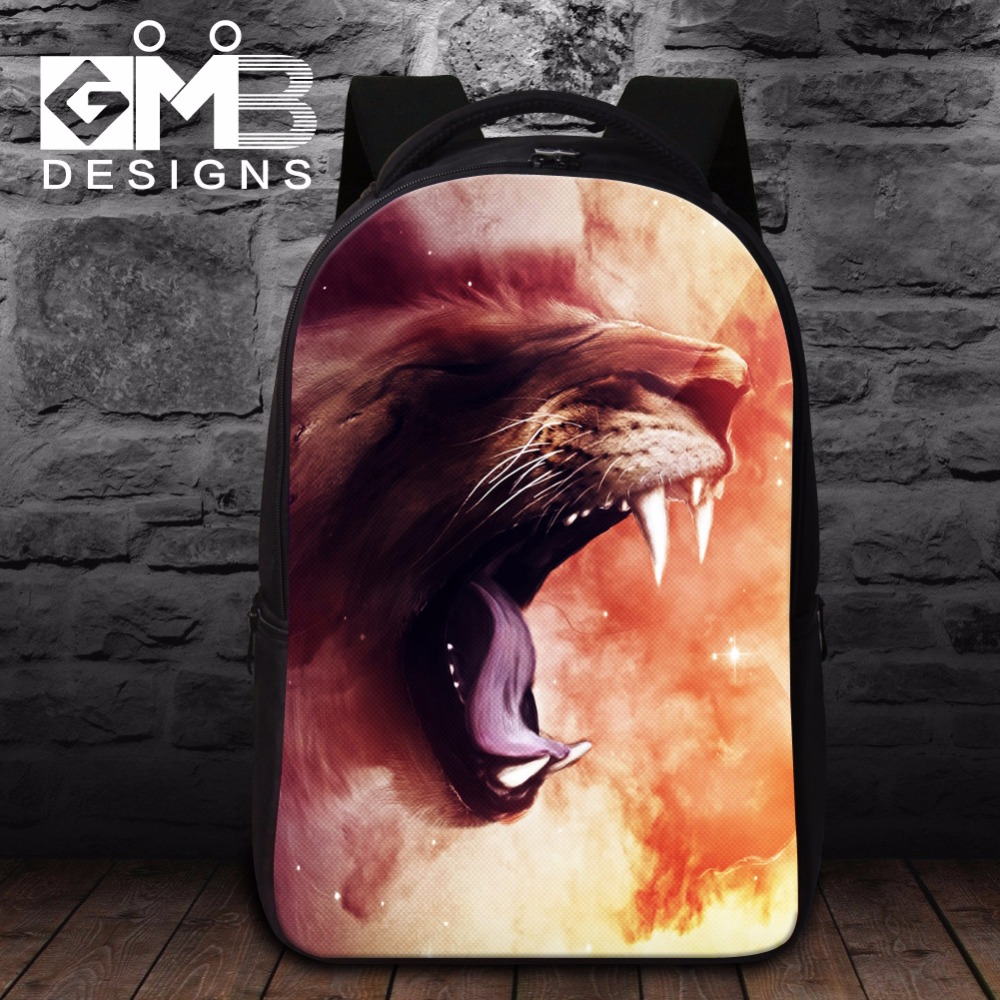 Animal Lion 3D Print book bags for college students,laptop bag for 14 inch,Best computer backpack for men travel mochila bookbag(China (Mainland))