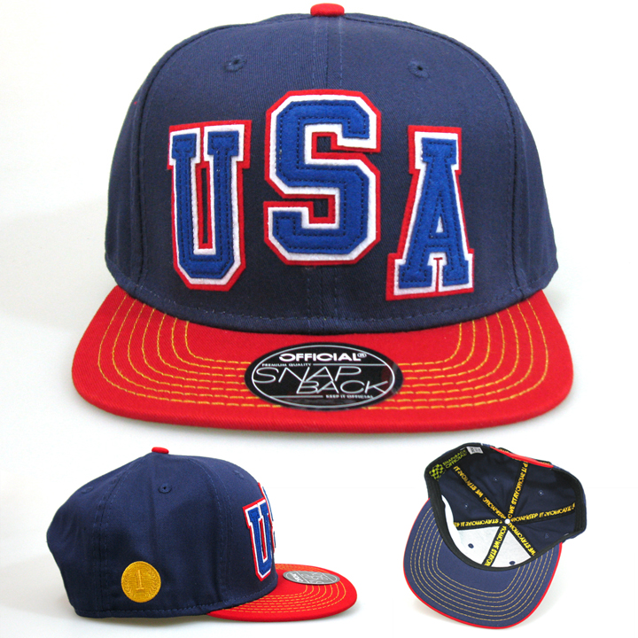 Official baseball cap snapback usa classic applique embroidery red blue(China (Mainland))