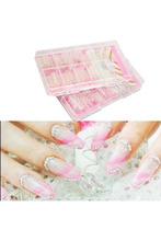 140PCS Clear Glaze Mosaic French False Nail Art Acrylic UV Gel Half Tips ALOM