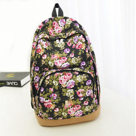 100%Favorable comment!2014 hot Floral Printed Canvas Backpack High quality Fashion women School Bags women bag laptop backpack(China (Mainland))