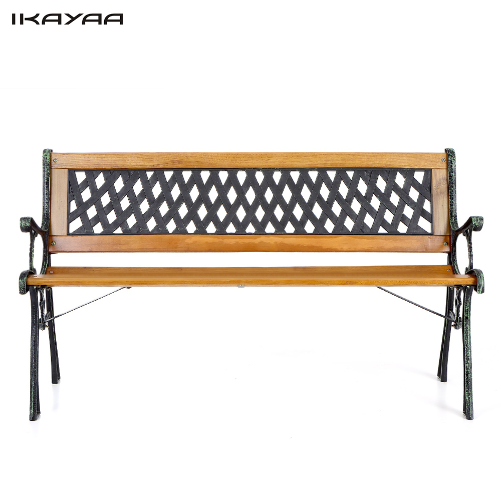 "US IKAYAA 50"" Cast Iron Wood Outdoor Park Garden Bench Furniture Deck Porch Backyard Lawn Shop Seat Chair with EN581 Testing(China (Mainland))"