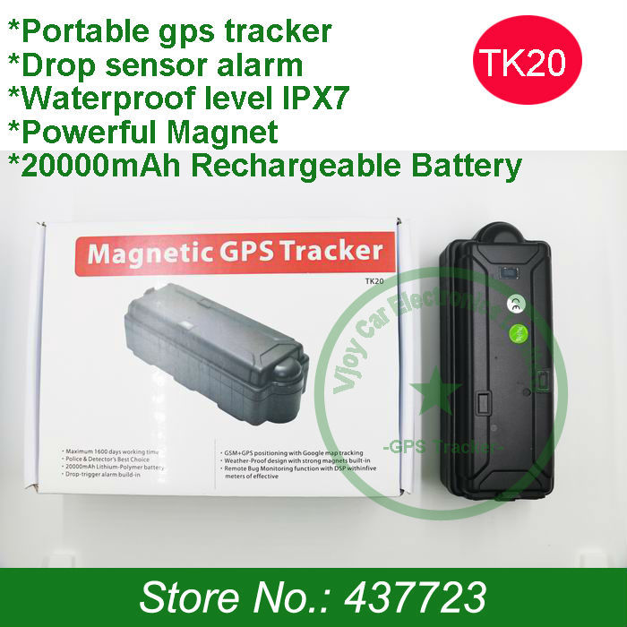 New!Waterproof magnetic vehicle gps tracker with 20000mAh,magnet,drop sensor,voice monitor and free gps tracking software(China (Mainland))