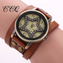 Vintage Cow Leather Star Bracelet Watch Antique Women Rhinestone Wrist Watch Casual Quartz Watch Relogio Feminino 1756