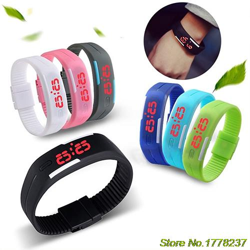 New 2015 Men's Women's Silicone Red LED Sports Bracelet Touch Watch Digital Wrist Watch 4VOP(China (Mainland))