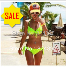 Victoria 2013 Hot Sale Neon Bikini Green Red Color Steel Push Up Mimi Neon Color Plus size XL 2XL bikini Swimwear Women swimsuit