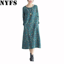 Buy 2017 Spring Autumn Winter Long Sleeve Women Dress Plus Size Vintage Floral Casual Loose Cotton Linen Dress Vestidos Robe Dresses for $12.94 in AliExpress store
