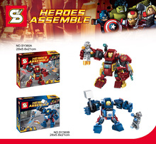 2pcs SY360 Super Heroes Avengers 2 Age Of Ultron Figures Justice League HlukBuster Thorbuster Bricks Toys compatible with lego