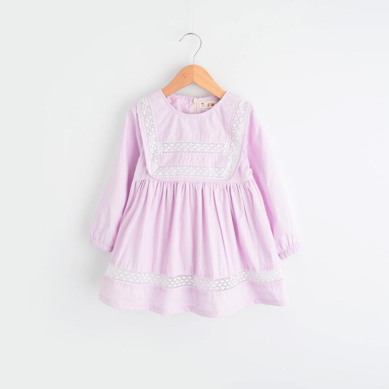 Baby Girl Lace Cotton Blouse Dresses, Princess Kids Fall Long Sleeve Dress Wholesale 5 pcs/lot,(China (Mainland))