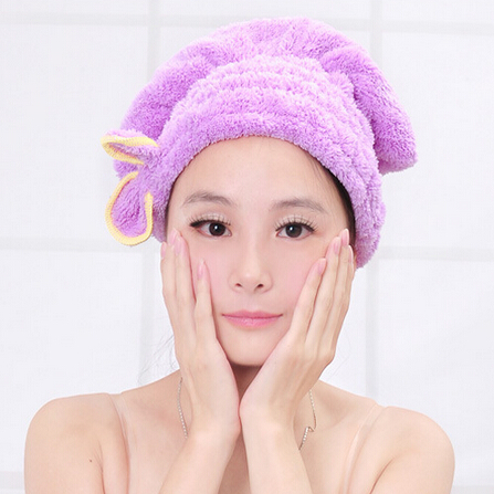 Lovely Bowknot Coral Vevet Strong Water Absorption Hair Dry Shower Bath Caps Hats Microfiber Fast Quick Dry Hair Towel