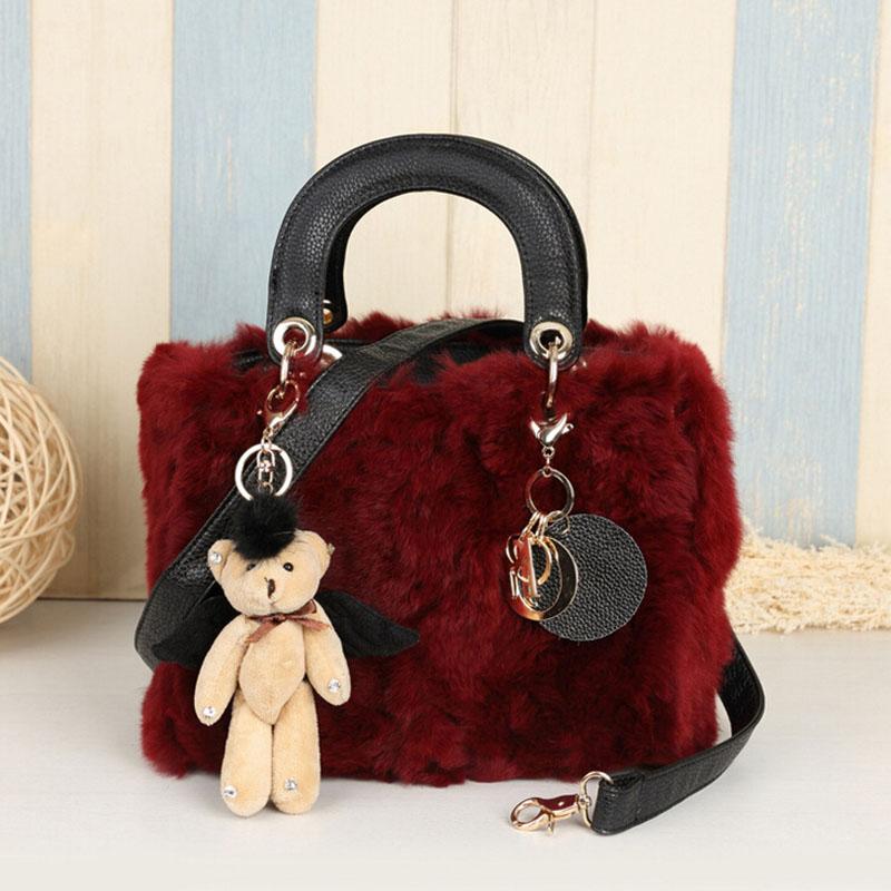 Winter Warm Ladies Shoulder Bag Rabbit Fur Handbag Vintage Tote Bags for Women Designer Real Fur Bag<br><br>Aliexpress