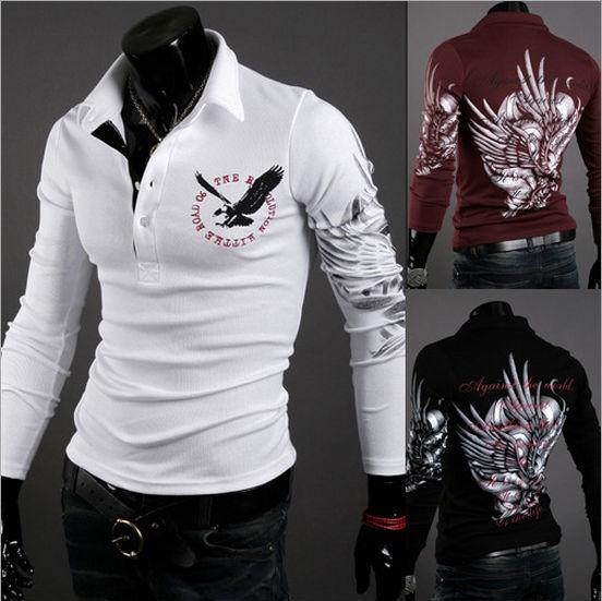 New Fashion High quality Men 's Shirt Long Sleeve T Shirt Eagle Tattoo comfortable boy shirt sportswear M--3XL Free-Shipping(China (Mainland))