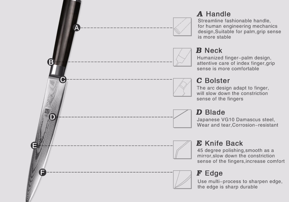 "Buy XINZUO 8"" inch cleaver knife 67 layer Japanese VG10 Damascus kitchen knife  sashimi knife kitchen utensil handle free shipping cheap"