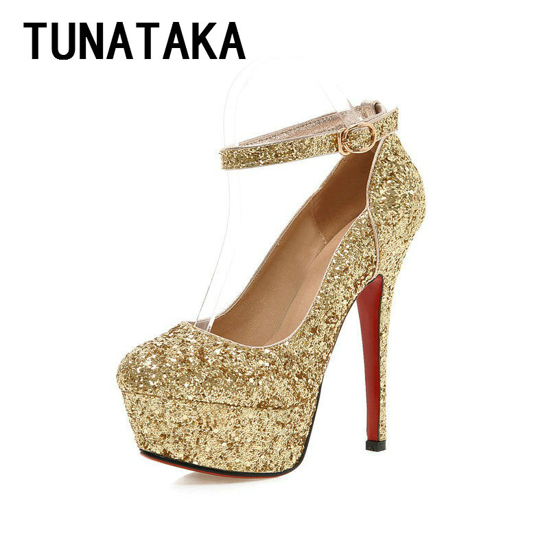 Spring Fashion Glitter Red Bottom Platform Pump Wedding Shoes Sexy High Heels for Women Drop Shipping<br><br>Aliexpress