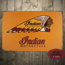 INDIAN MOTORCYCLE CUSTOM MAN CAVE CEDAR FRAMED RETRO WEATHERED METAL BAR SIGN C-107
